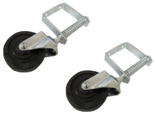 "2 x 4"" Spring Loaded Gate Wheels - Heavy Duty Castor Rubber 100MM"